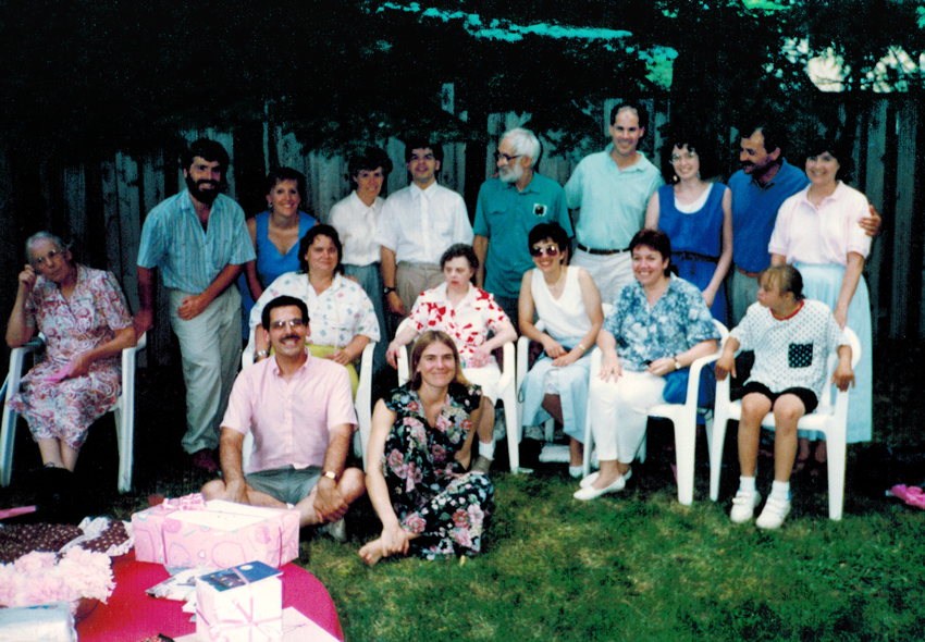 Helen with friends at her party